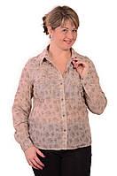 Рубашка блузка льняного цвета в стиле Бохо ,46,48,50,52,54 , Бл 001.