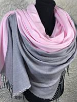 Женские зимние двухцветные шарфы с бахромой 180х70 см