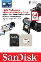 Карта памяти SanDisk 64GB microSDXC C10 W20MB/s High Endurance Video Monitoring + SD, SDSDQQ-064G-G46A