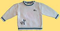 """Джемпер детский для новорожденного, вязанный, белый, """"Друзья"""", 68 см"""
