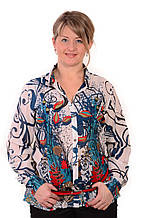 Блуза-рубашка Бл 001-1 из тонкого полированного хлопка,размеры 46,48,50,52,54 .