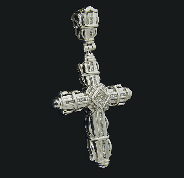 Золотий хрест з блиллиантами С45Л1№52