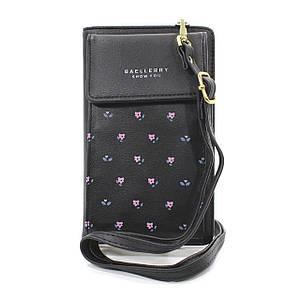 Жіноча сумка-гаманець Baellerry N0103 Black з ремінцем зручний аксесуар для смартфона грошей монет кредиток