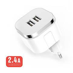Сетевое зарядное устройство Brum S009   5V 2.4A 2*USB