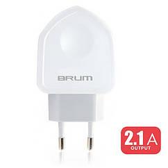 Сетевое зарядное устройство Brum S002   5V 2,1A 2*USB