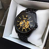 Мужские черные механические наручные часы Rolex / Ролекс
