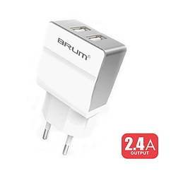 Сетевое зарядное устройство Brum S005   5V 2,4A 2*USB