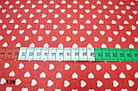 Бязь с маленькими сердечками на красном фоне (№139)., фото 2