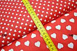 Бязь с белыми сердечками 15 мм на красном фоне (№140)., фото 3