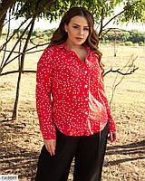 Стильна жіноча блузка-сорочка в горох рукав трансформер великі розміри батал 48-58 арт 1322