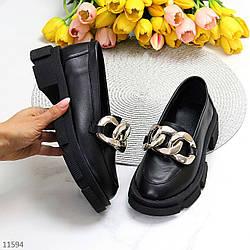 Эффектные кожаные черные женские туфли натуральная кожа на массивной подошве 37-24 / 38-24,5см
