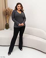 Однотонна жіноча повсякденна кофта по фігурі в рубчик великих розмірів батал 48-58 арт 816