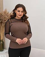 Красива ошатна жіноча кофта приталені в рубчик з рукавами з сітки великих розмірів батал 48-58 арт 817