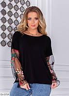 Ошатна жіноча кофта-блуза з красивими рукавами сітка з вишивкою великих розмірів батал 48-58 арт 03834