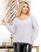 Тепла жіноча кофта травичка красива з довгим рукавом великих розмірів батальна 48-62 арт 0370