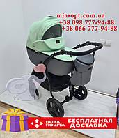 Детская коляска 2 в 1 Classik (Классик) Victoria Gold эко кожа серый - мятный