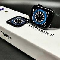 Красивые стильные смарт часы в стиле Apple watch 6 series 44мм Т500+ Plus / Умные часы Т500+ Plus Черные