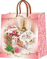 Бумажные пакеты с рисунком Цветы размер 24 х 24 см (12 шт./уп.)