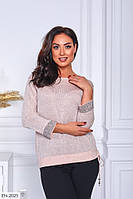 Гарний святковий жіночий светр турецький легкий з каменями, стразами на рукавах великого розміру 48-52 арт 4133