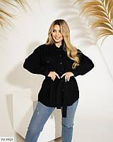 Вельветова гарна сорочка жіноча подовжена з поясом вільна на осінь великих розмірів батал 50-56