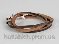 Кожанный браслет коричневый