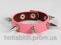 Розовый браслет для девушки шипы
