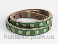 Зеленый кожанный браслет