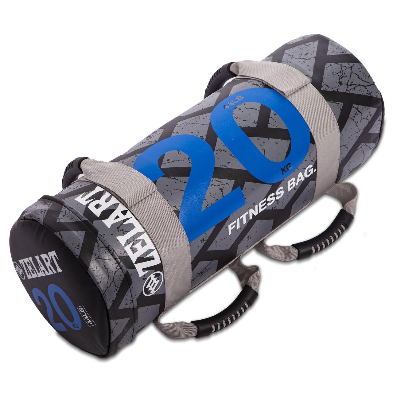 Мішок для кроссфита і фітнесу Zelart Power Bag FI-0899-20 20кг чорний-синій