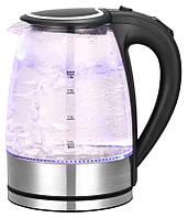Электрический чайник Goldteller MG-05 BLACK Дисковый электрочайник Чайник электрический бытовой стекло 1,8 Л