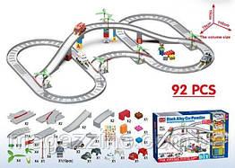 """Дитячий ігровий гоночний трек конструктор з машинками, """"Block Alloy Car Paradise"""", 92 деталі, 3 машинки."""