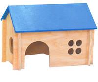 Домик для морской свинки деревянный покатая цветная крыша /  ЛР-Д016
