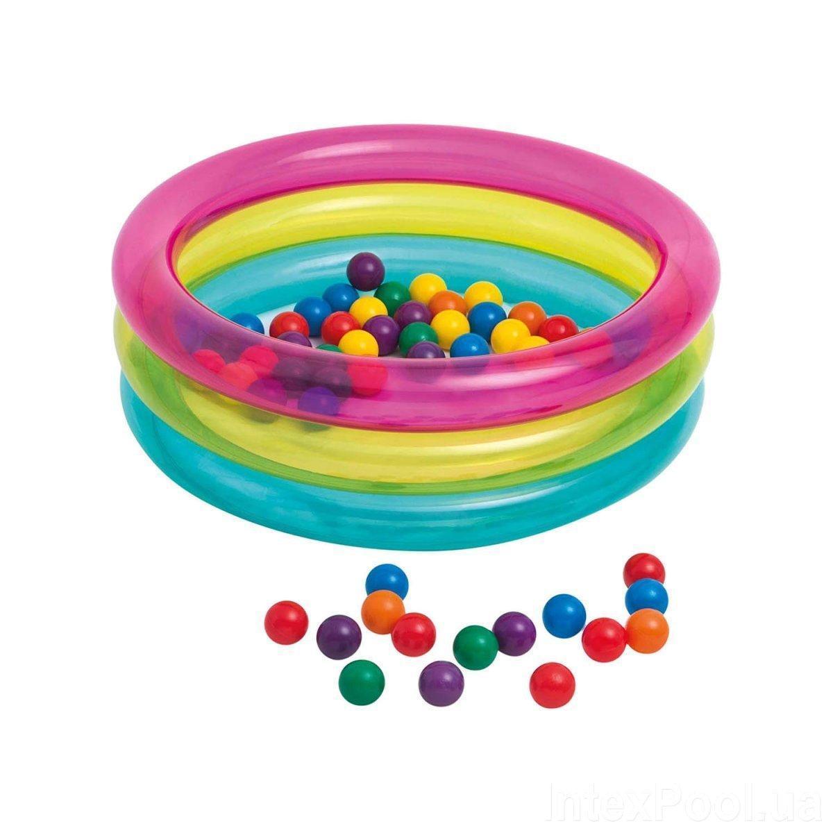 Надувний басейн для дітей від 1 року в комплекті 50 кульок Intex 48674 (розмір 86*25 см) (обсяг 68 л)