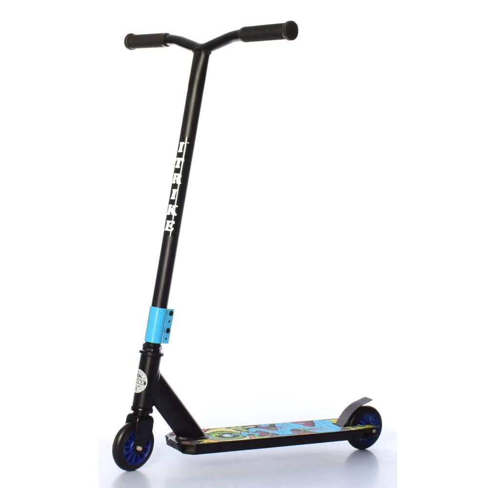 Самокат трюковый iTrike детский SR 2-067-1-BBL колеса ПУ, d=10см, руль 86 см черный с синим