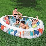Еліптичний, надувний, сімейний басейн Bestway 54066 з трьома кільцями (розмір 234-153-51 см), фото 2