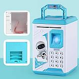 Дитячий сейф-скарбничка MK 4626 з кодовим замком і відбитком пальця, (колір блакитний), фото 2