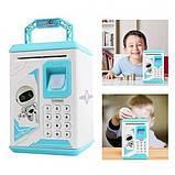 Дитячий сейф-скарбничка MK 4626 з кодовим замком і відбитком пальця, (колір блакитний), фото 3