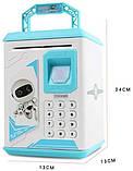 Дитячий сейф-скарбничка MK 4626 з кодовим замком і відбитком пальця, (колір блакитний), фото 6