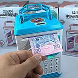 Дитячий сейф-скарбничка MK 4626 з кодовим замком і відбитком пальця, (колір блакитний), фото 9