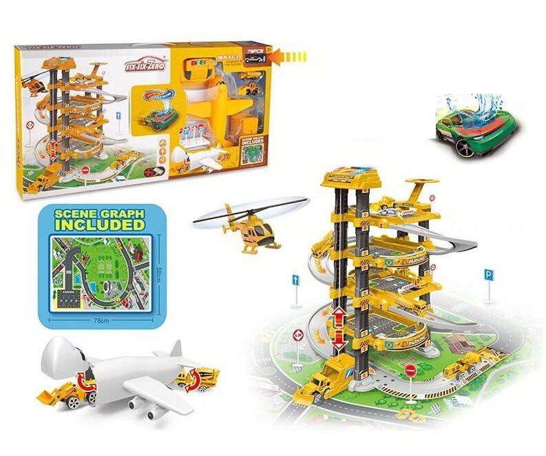 Детский игровой пятиуровневый гараж паркинг с винтовым спуском, вертолетом и машинкой 660 А-302