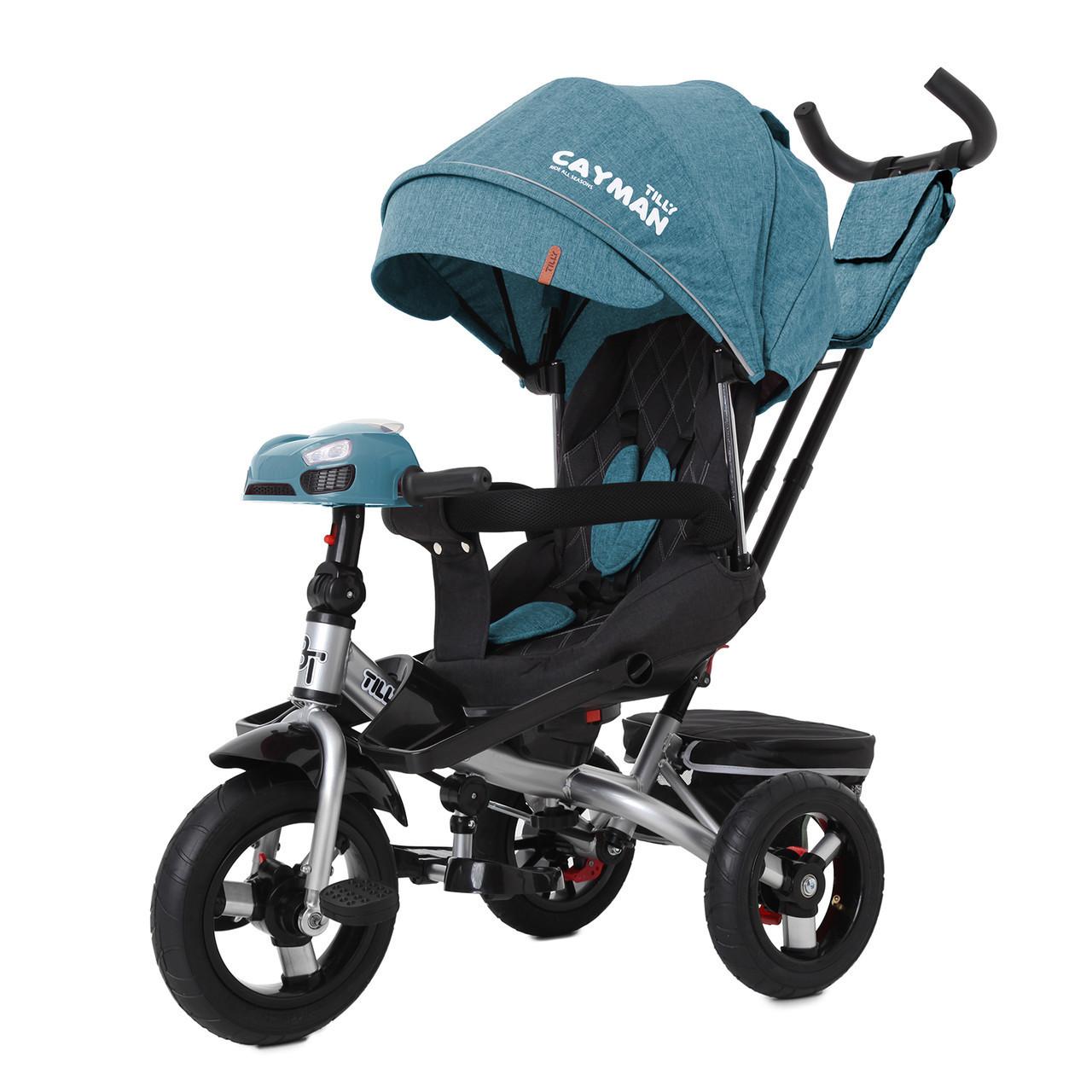Триколісний велосипед для дітей від 1 року з ручкою для батьків Tilly Cayman T-381/6, бірюзовий льон
