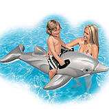 """Надувний пліт-матрац для купання в морі або басейні """"Дельфін"""" Intex 58535 для дітей (розмір 175*66 см), фото 3"""