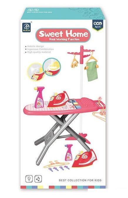Игрушечный набор прачки с гладильной доской, сушилкой и утюгом со звуковыми эффектами 7930, розовый