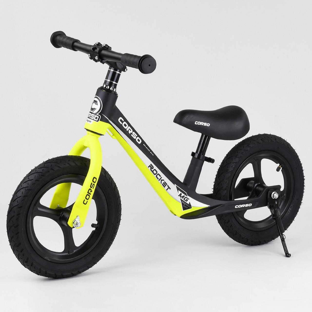 Детский беговел с максимальной нагрузкой 35 кг, регулируется сидушка, есть подножка Corso 63181, желтый