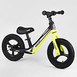 Детский беговел с максимальной нагрузкой 35 кг, регулируется сидушка, есть подножка Corso 63181, желтый, фото 2