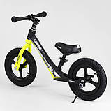 Детский беговел с максимальной нагрузкой 35 кг, регулируется сидушка, есть подножка Corso 63181, желтый, фото 4
