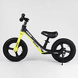 Детский беговел с максимальной нагрузкой 35 кг, регулируется сидушка, есть подножка Corso 63181, желтый, фото 5
