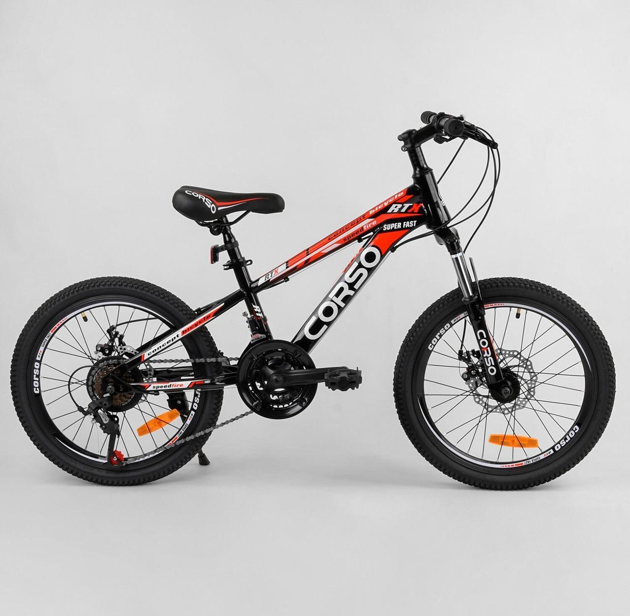 """Спортивный детский велосипед, скоростей 21, ручной тормоз, подножка, колеса 20"""" CORSO 95461, черный"""