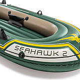 Двухместная надувная лодка Intex 68347 Seahawk 2 Set с веслами и насосом (236*114*41 см), фото 6