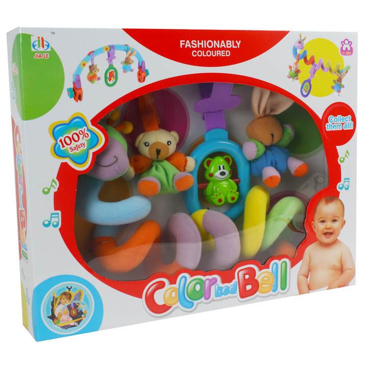 Разноцветная, мягкая спираль на кроватку или коляску для малыша с развивающими игрушками в комплекте 399-3