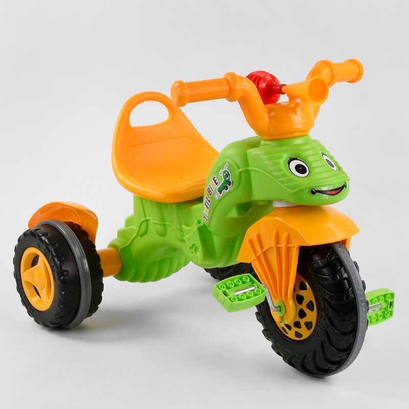 Трехколесный велосипед для ребенка в виде гусеницы с удобным сиденьем с ручкой Pilsan 07-163, оранжево-зеленый